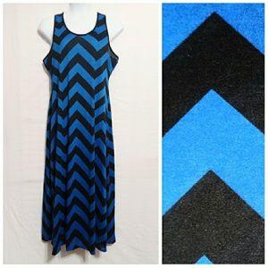 Black And Blue Chevron Maxi Dress